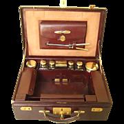 SOLD Superb antique French travel case or valise, original vermeil sterling silver and crystal