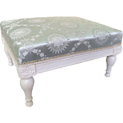 SOLD French 18th Century Feet Stool With A Blue Silk Fabric - Directoire Period Circa 1790