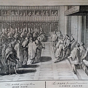 SALE 1730 Engraving of Pope and Jubilee Year Holy Door