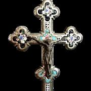 Large 19th Century Micro Mosaic Crucifix