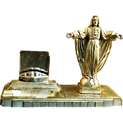 French Sacred Heart Statue and Cigar Tray
