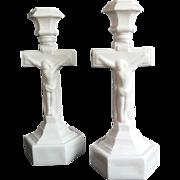 Pair of Milk Glass Crucifix Candlesticks
