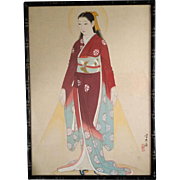 Taisho Era Japanese Madonna on Silk