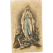 SOLD Holy Card of St. Bernadette's Vision of the Immaculate Conception