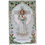 Gloria in Excelsis Deo Lace Holy Card