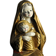 SALE Mary and Christ Child Figurine in Gold Paper Mache