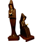 REDUCED Hand Carved Reading Monks Set