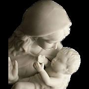 SALE Fine Porcelain Bisque Madonna and Child Statue
