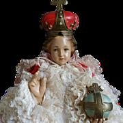 "1950 Chalkware 18"" Infant of Prague statue"