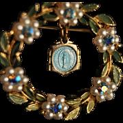 SALE Marian Miraculous Medal pendant Brooch with blue Rhinestones