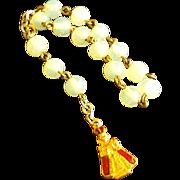 SALE Rare Opaline Bead Infant of Prague Chaplet/ Rosary