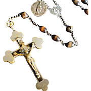 Large Wooden bead Rosary with St. Jude Medal