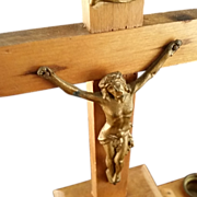 French Crucifix Candelabra with Holy Water Font