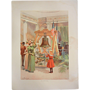 "Rare Antique Chromolithograph The World's Fair in Watercolors - ""Old Liberty Bell"" b"