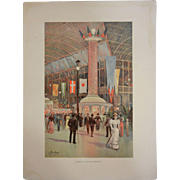 """Rare Antique Chromolithograph The World's Fair in Watercolors - """"Interior of Electrical ."""