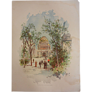 "Original Chromolithograph The World's Fair in Watercolors - ""Looking South From Wooded Is"