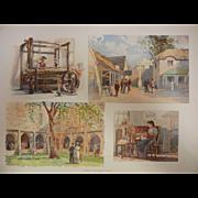 """Rare Antique Chromolithograph The World's Fair in Watercolors - """"Scenes In The Irish Vill"""