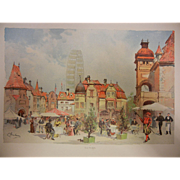 "Rare Antique Chromolithograph The World's Fair in Watercolors - ""Old Vienna"" by C. G"