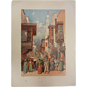"""Rare Antique Chromolithograph The World's Fair in Watercolors - """"Cairo Street"""" by C."""