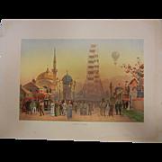 "Rare Antique Chromolithograph The World's Fair in Watercolors - ""Along The Plaisance"""