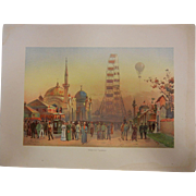 "Rare Antique Chromolithograph The World's Fair in Watercolors - ""Along The Plaisance"""