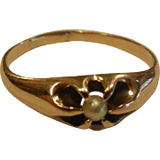 Vintage 10K Gold Ring w/ Gypsy Mounted Pearl