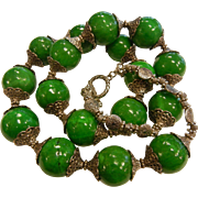 Large Green Agate Bead Necklace w/ Silver Granulated Style Beads