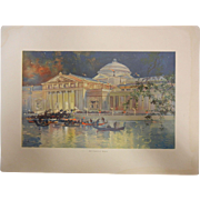 """Rare Antique Chromolithograph The World's Fair in Watercolors - """"Art Palace At Night"""""""