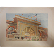 "Rare Antique Chromolithograph The World's Fair in Watercolors - ""The Gilded Entrance To ."