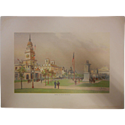 "Rare Antique Chromolithograph The World's Fair in Watercolors - ""Among The State Building"