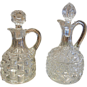 Pair of Early 1900's American Pressed Glass Decanters EAPG