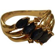 Fine 14K Gold Ring w/ Natural Blue Sapphires & Diamonds