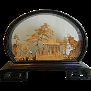 Vintage Chinese Cork Art Diorama Shadow Box