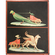 Fine Hand Painted Gouache Watercolor Painting of Griffin & Bird Pulling Carts