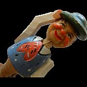 Vintage German Hand Carved Wooden Bottle Stopper