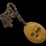 Vintage Scrimshaw Decorated Natural Bone Pendant