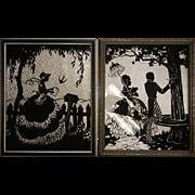 Vintage Art Deco Reverse Painted Silhouette Foil Pictures - Set of Two
