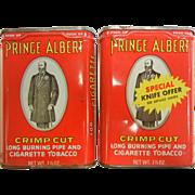 Vintage Prince Albert Crimp Cut Tobacco Tins - Set of Two