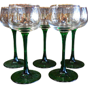 Vintage Luminere France Green Wine Glasses w/ Gilded Grape Leaves