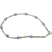 Sterling Silver & Glass Cat's Eye Beaded Bracelet