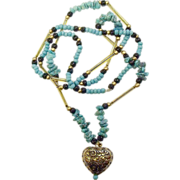 Long Vintage Southwestern-Style Necklace w/ Heart Charm & Turquoise Beads