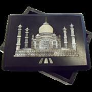 Vintage Black Stone & Mother-of-Pearl Taj Mahal Trinket Box