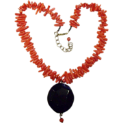 Bold Black Rainbow Obsidian & Dyed Red Coral Adjustable Necklace