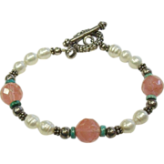 Sterling Silver, Rose Quartz, Cultured Pearl & Turquoise Beaded Bracelet