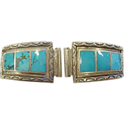 Signed Vintage Southwestern Sterling Silver and Turquoise Watch Ends