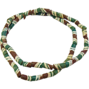 Handmade Glass Trade Beads, Maroon, White & Green Striped Glass