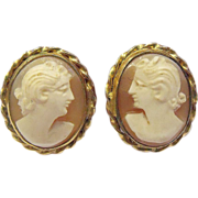 12k GF & Shell Cameo Earrings by LSI