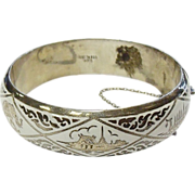 Signed SIAM Silver & White Enamel Cuff Bracelet