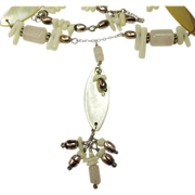 Hand Crafted Beachy Necklace w/ Natural Rose Quartz, White Coral, Mother of Pearl
