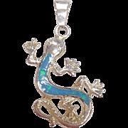 Blue Opal Inlaid Sterling Silver Salamander Pendant
